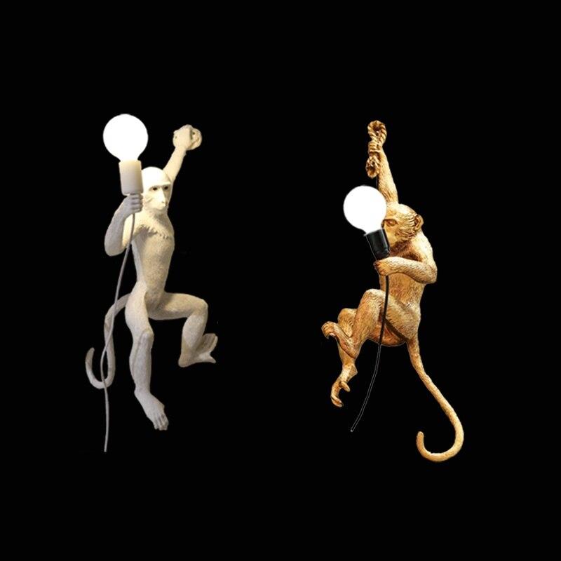 Nordic Твинс смолы лампа в форме обезьяны E27 светодио дный Бра Творческий 3D обезьяна Гостиная светодио дный настенный светильник Спальня насте