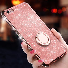 Glitter Diamond Soft Silicone Case for iphone 6 6s 7 8 Plus X XS MAX XR Finger Ring Cover for samsung galaxy S8 S9 S7 Note 8 9(China)