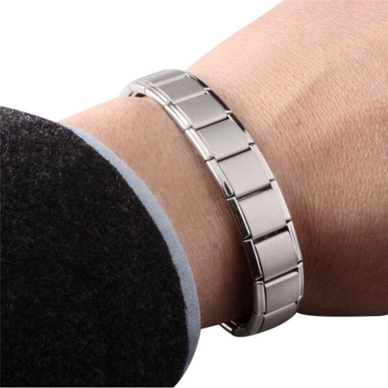 Watchband Men Charm Bracelet Stainless Steel Punk Jewelry Magnet Germanium Health Titanium Steel Bracelet & BanglesFashion