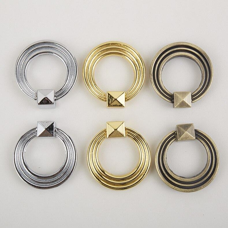 Imitation Cyan Antique Bronze Ring Handle Gold European Vintage Single Hole  Cabinet Door Zinc Alloy Cabinet Drawer Furniture Sma
