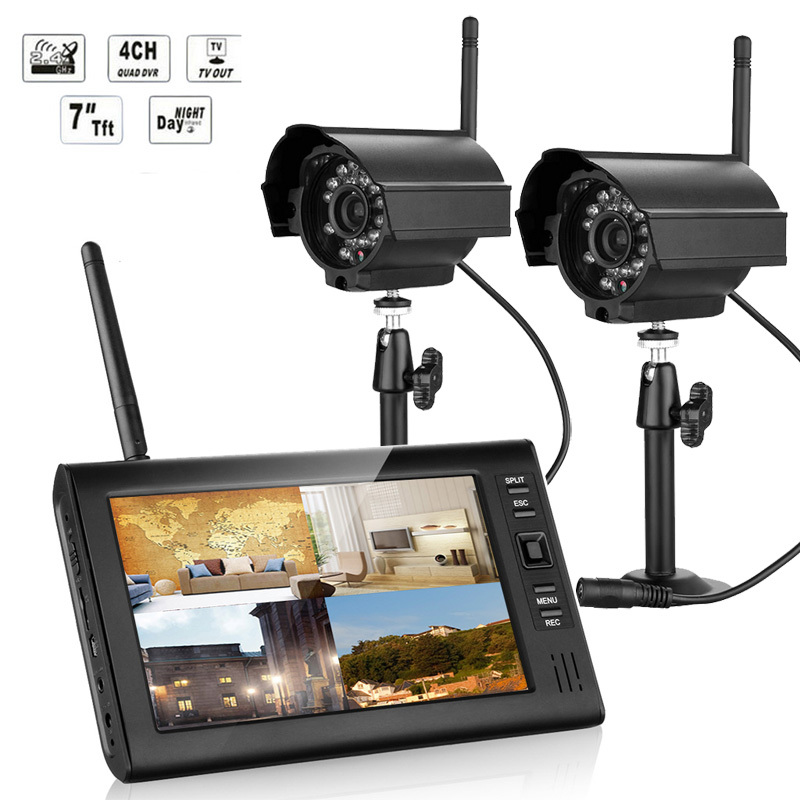 NOVO 7 Polegada Monitor Sem Fio Kit CCTV 2.4 GHz 4CH Canal CCTV DVR 2 PCS Câmeras Sem Fio Áudio Night Vision Home Security sistema