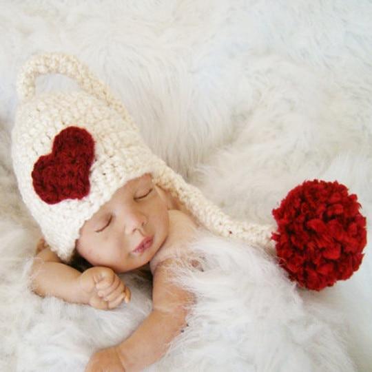 Bebé recién nacido caliente larga cola blanca gorro de lana sombrero ...