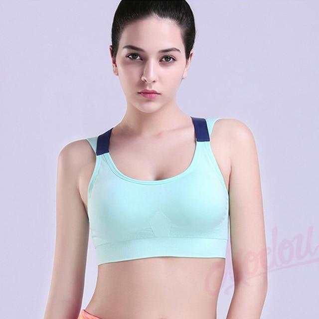 80f729ec42 Wholesale Woman s pro padded compression sports bra Sportswear Spaghetti  Strap Fast dry elastic running tank top bra 049