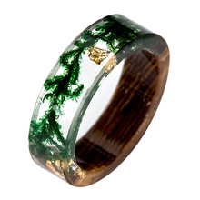 Wood & Resin Rings withGreen Moss & Gold Flakes
