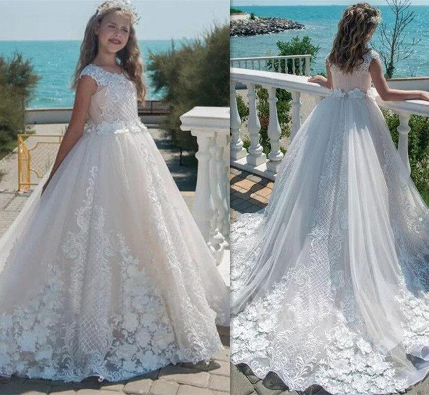 High Quality Ivory White Flower Girls Dresses Lace Applique Princess Floor Length Birthday Pageant Dress First Communion Gown
