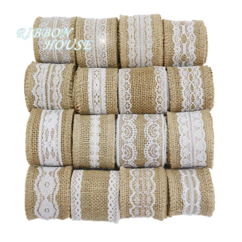 5CM Wide Multicolor Natural Burlap Fabric Jute Rustic Wedding Vintage Roll 10M