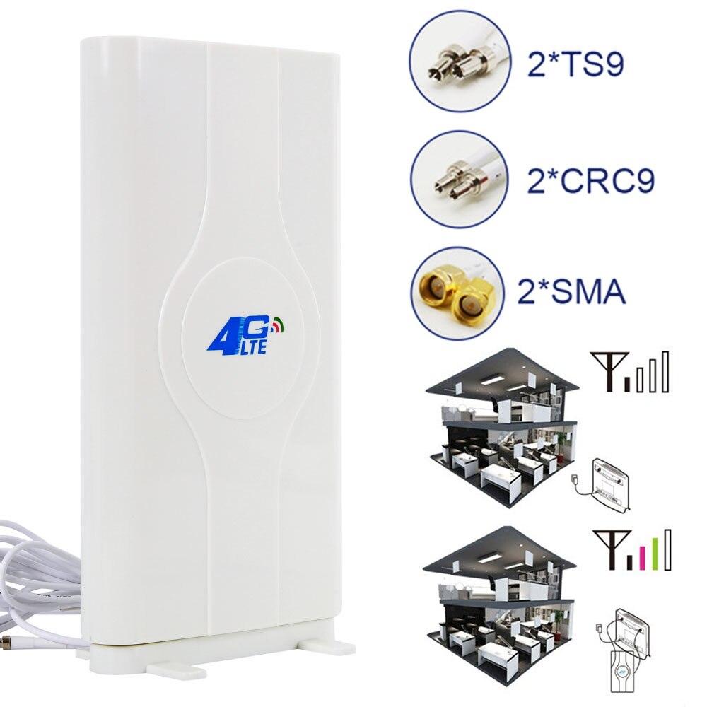 Antenne Mobile 3G/4G LTE 800 ~ 2710 MHz 88dbi antenne 2 * SMA/2 * CRC9/2 * TS9 connecteur mâle Booster antenne panneau Mimo + 2 mètres