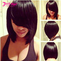 Hot Short Black Wigs With Bangs Straight Synthetic Wigs For Black Women Natural Cheap Hair Wig Pelucas Baratas Heat Resistant