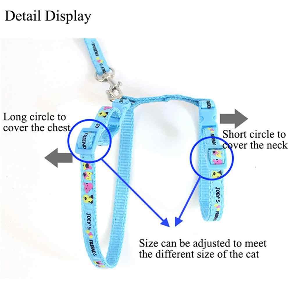 Gato Arnês E Trela de Nylon Material Para Animais Ajustável Padrão Impresso Harness Cinto de Tração Animal de Estimação Gato Gatinho Gola Halter