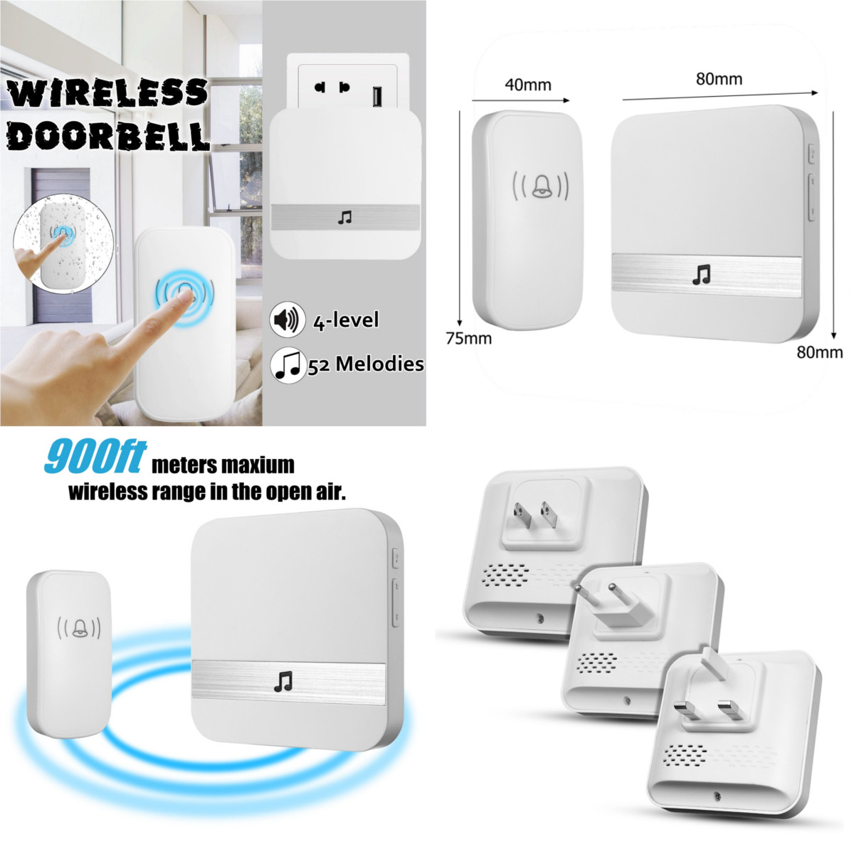 300M Waterproof LED Wireless Doorbell EU/US/UK Plug 52 Songs Chime Door Bell 1 Receiver 1 Button материал укрывной суф