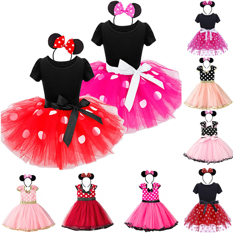 Toddler Dresses For Girls Kids White Dot Print Red Dress Summer Cute Casual Headband Rose Red Tutu Minnie Cosplay Frock Pink in Dresses from Mother Kids