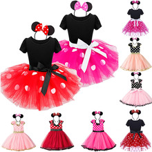 Toddler Dresses For Girls Kids White Dot Print Red Dress Summer Cute Casual Headband Rose Red Tutu Minnie Cosplay Frock Pink posh dream mickey cartoon kids girl dress for cosplay pink and hot pink dot minnie girl tutu dresses flower girl cosplay dress