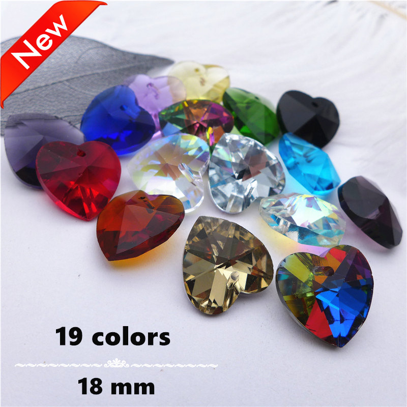 18mm Crystal Heart Shape Cut Face Pendants Jewelry DIY Charms Pink/blue/yellow Beads Accessories Glass Drop Curtain Lamp 50pcs