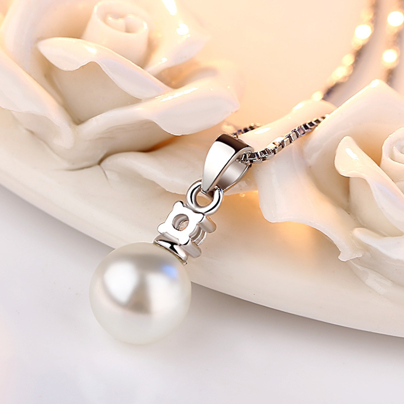 100 925 sterling silver fashion imitation pearl crystal ladies pendant necklaces jewelry short box chains female women in Pendant Necklaces from Jewelry Accessories