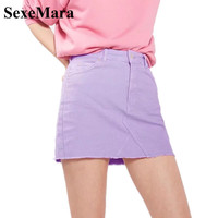 SexeMara 2018 Summer Candy Colors Mini Jeans Skirt Women Purple High Waist Sexy Denim Skirts With