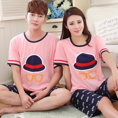 100% Cotton Casual Couple Animal Pajama Set Sleepwear 3