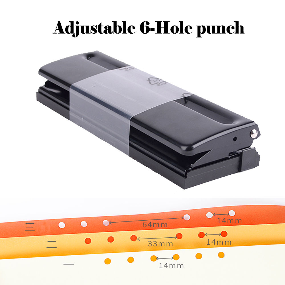 Adjustable 6-Hole Punch 6 holes punch loose-leaf emperorship adjustable diy punch perfurador de papel perforadora locher 6 hole standard punch adjustable hole punch for handmade loose leaf and bullet journal inner page pink white 6 sheets capacity page 5 page 7 page 4