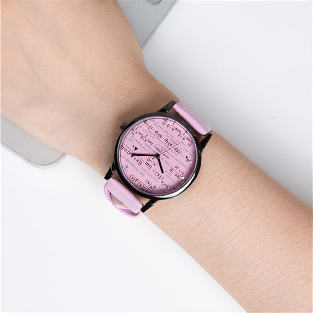 Students Stylish Casual Math Dial Quartz Wristwatch Women Man Campus Style Pink