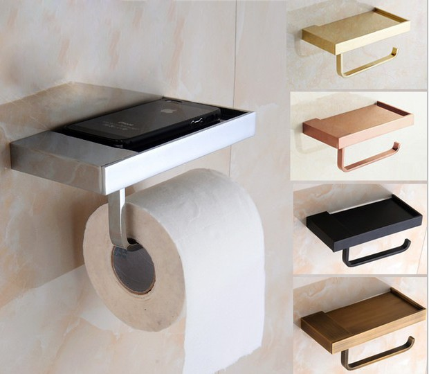 1PC New Brass bathroom paper phone holder with shelf bathroom Mobile phones towel rack toilet paper holder tissue boxes KG 2016 image