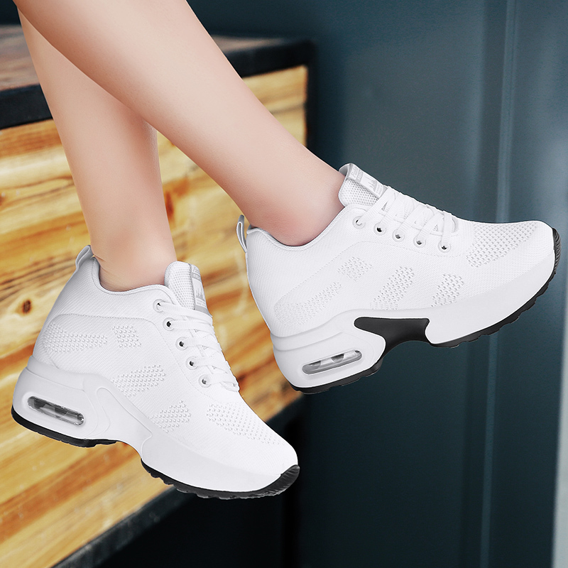WADNASO Flying Knitting Fashion Sneakers Women Hide Heels Casual Shoes Breathable Platform Sneakers Wedge White Shoes XZ120 (38)