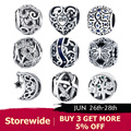 BISAER 925 Sterling Silver Love All Around CZ Beads Fit Charms Silver 925 Original Bracelet Beads & Jewelry Making berloque