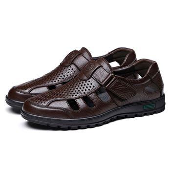DCOS sandalias de hombre de cuero genuino zapatos de pescador transpirables de Fretwork estilo Retro gladiador suave fondo de verano clásicos m