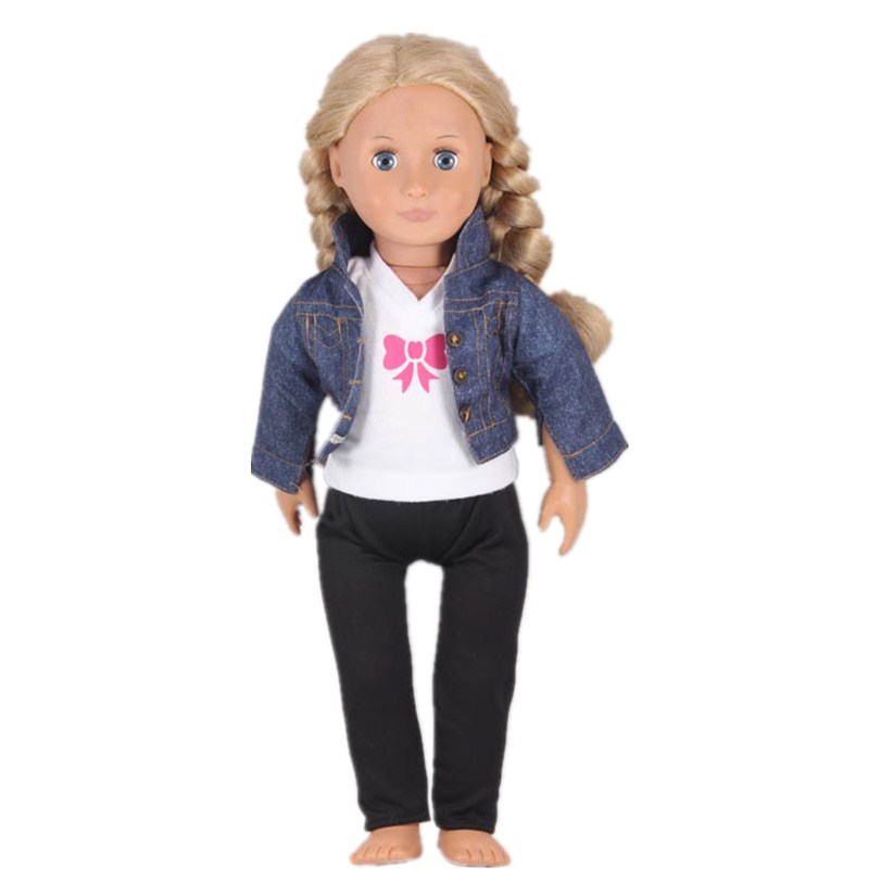 Doll Baby Born Accessories Jean Coat White Tshirt Black Pants Doll Clothes Sets American ...