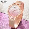 MEGIR Роскошные Кварцевые часы с сетчатым ремешком для женщин  розовое золото  простые ультра тонкие наручные часы для женщин  Relogios Femininos  4215  р...