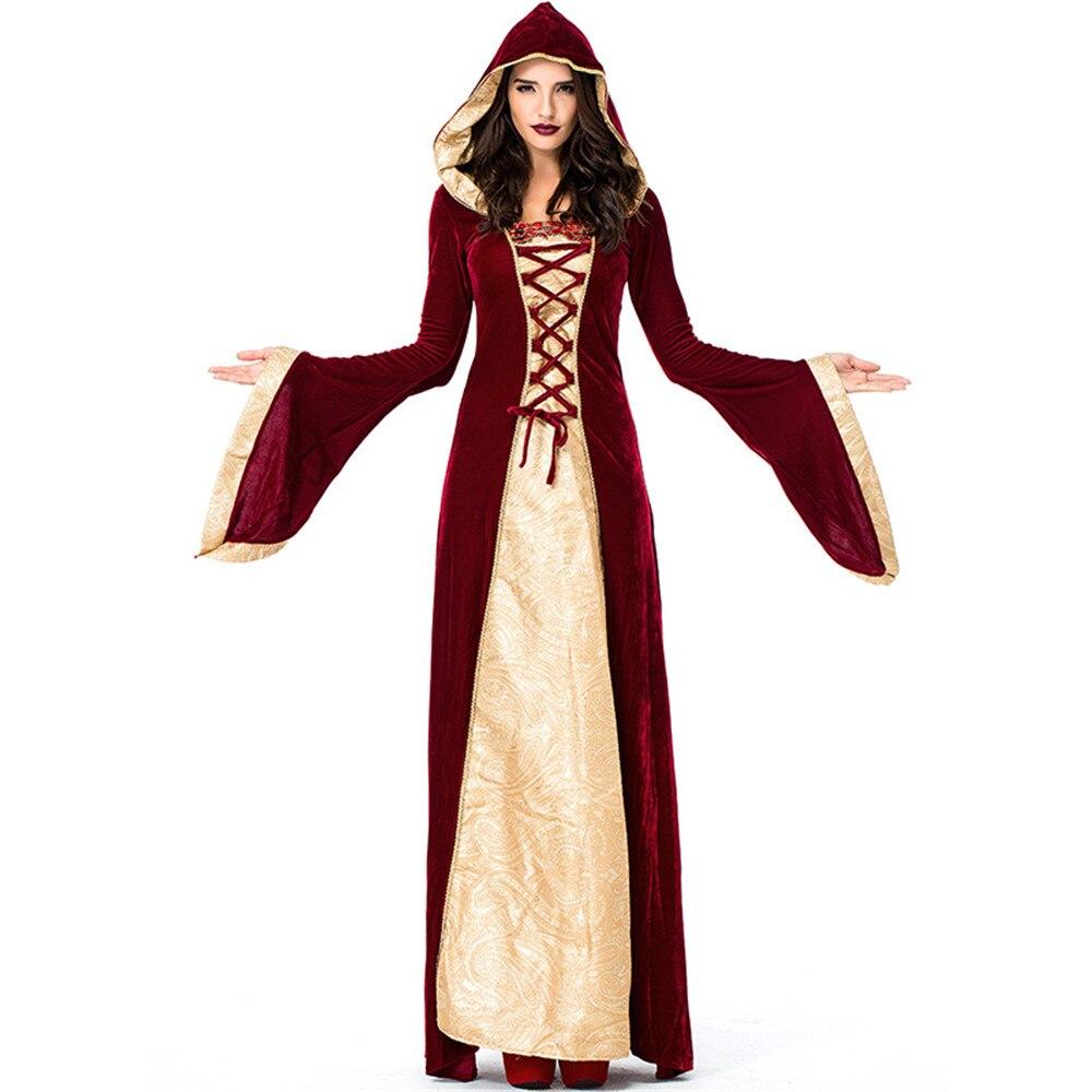 Fête d'halloween Sorcière jeu de Rôle Fantôme Femme Vampire Effrayant Cape Mal Stade Adulte Cosplay Costumes Fantaisie Longue Robe