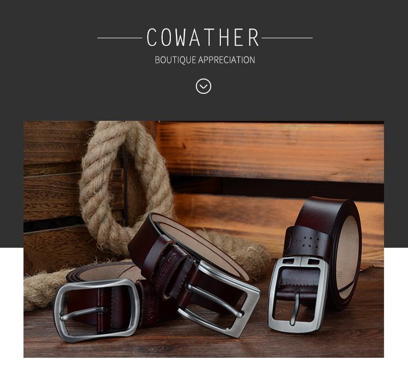 حزام COWATHER جلد طبيعي للرجال 4