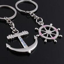 (50 pairs/lot) Men& Women Rudder And Anchor Key Chain Zinc Alloy Rhinestone Dolp