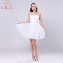 Walk Beside You White Beach Wedding Dresses Short Tulle Lace Applique Pearl A-line Bride Gowns Robe De Mariee Vestido Novia