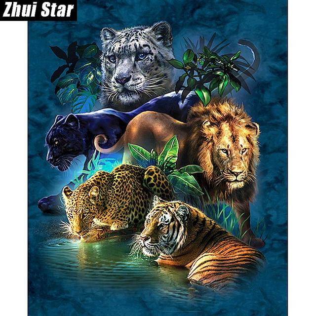 """Piazza piena di diamante 5d diy diamante pittura """"tigre Leone Leopardo"""" 3D Ricam"""