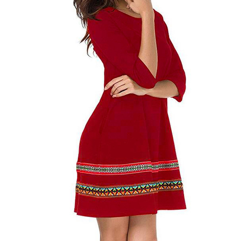 Women Autumn Dress Embroidery Round Neck Loose Pockets Long Sleeves Casual Dresses -MX8