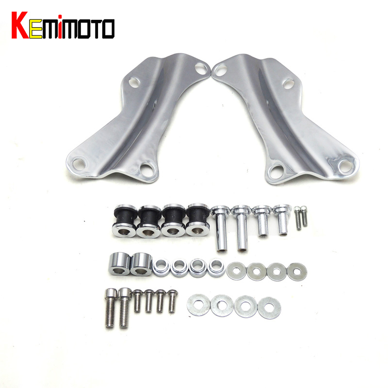 KEMiMOTO For Harley Touring Models Docking Hardware Kit 4 Point Chrome for Road King Glide Street Glide 2014 2015 2016 rsd motorcycle 5 hole beveled derby cover aluminum for harley touring flh t 2016 2017 for flhtcul and flhtkl 2015 2016 2017