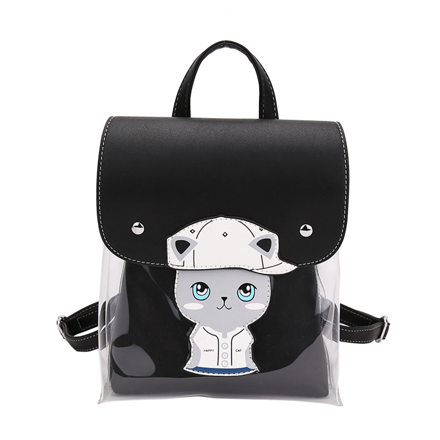 d8a17e0de8d9 Cute Cat Jelly bag Clear Women Backpack Cartoon School Bag For Teen Girls  backpack PU leather Travel Bag Mochila Feminina-in Backpacks from Luggage    Bags ...