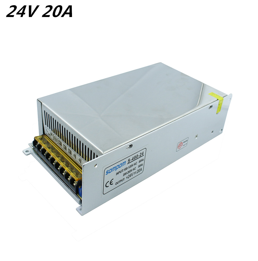New 24V 20A 480W Switching Switch Power Supply Adapter led Driver Transformer for LED Strip Lights AC110-220V Free Shipping hy 500 24 500w 24v 20a led power supply ac dc adapter for led strip light 110v 220v transformer dhl free shipping