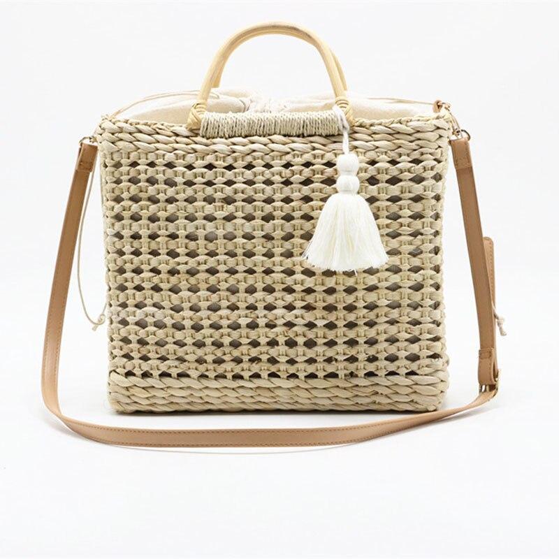 Mode nouveau sac à bandoulière populaire gland manuel tissé sac de paille 2019 an qualité artisanat papier vacances tissage sac à main sac de plage