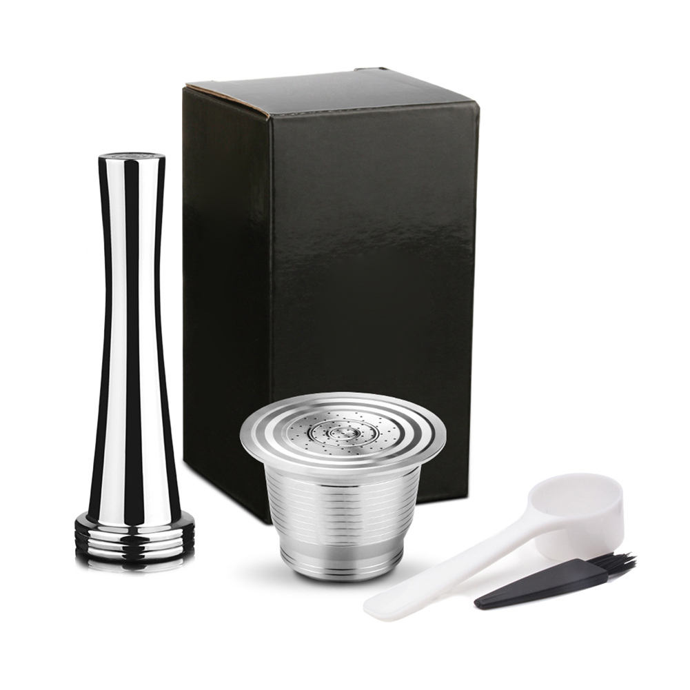 Hot Stainless Steel Reusable Refillable Coffee Pod Filter with Press Tamper Coffeeware Set FQ-ing