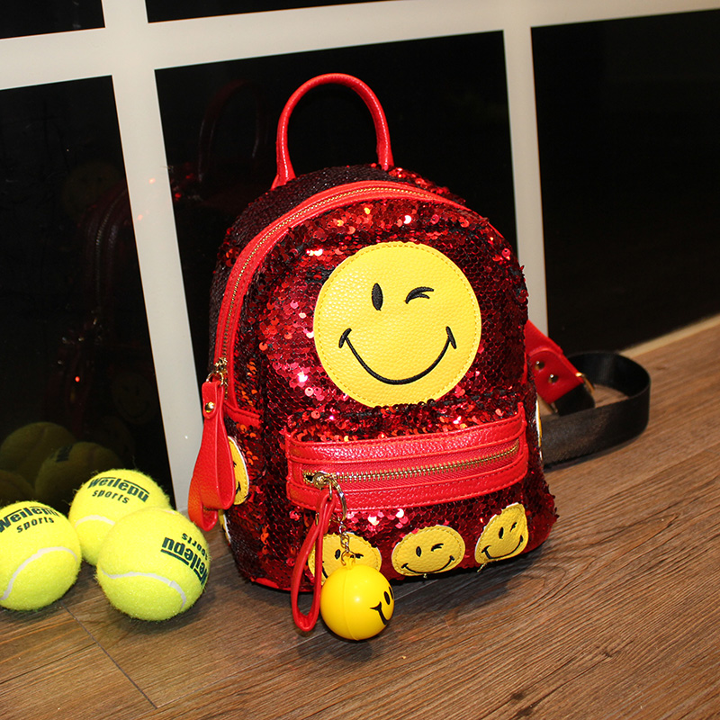 21d9051896e6 Girl s sequined backpack blingbling emoji backpacks mini smile school bags  fashion women s casual small travel bag with pendant-in Backpacks from  Luggage ...
