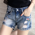 New Women Casual Summer Basic denim Shorts jeans cowboy hole pocket embroidery Hollow out worn-out Plus Size