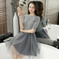 2016 new autumn two solid long neck casual sweater dress