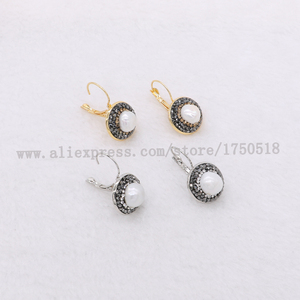 Image 2 - Natural pearl earrings natural shell pearl earrings round beads druzy earrings wholesale  jewelry gem jewelry for women 1083