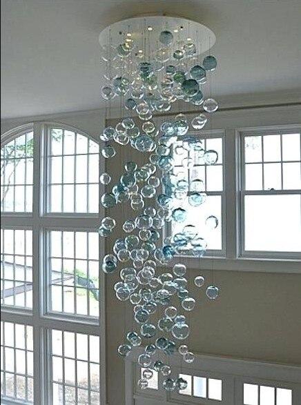 Venta caliente Murano cristal burbuja candelabro LED redondo cristal para sala de estar escalera decoración de arte