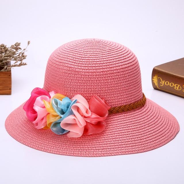 Fashion Caps Women Summer Ladies Beach Cap Flower Straw wide brim Hat  sombreros Belt Braid Sun Hats panama floppy pith helmet 565b3596d2e