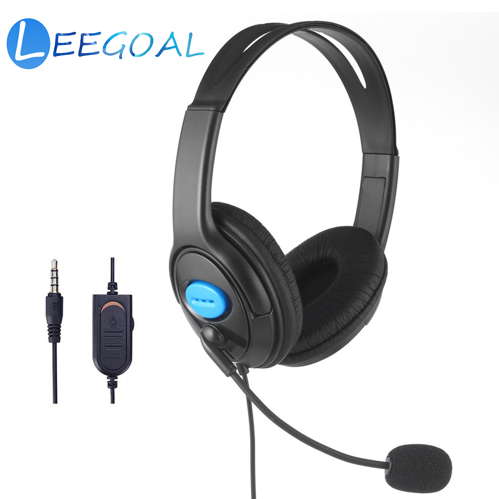 PS4 Wired Headphone Live Chat Gaming Headset Mic Volume Adjustable Headband for Laptop Tablet PC Gamer PS4 Slim / Pro Controller
