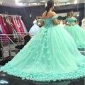Шикарный Цветок Ручной Работы Зеленая мята Бальное платье Свадебные Платья 2017 Платье Облако Для Невесты