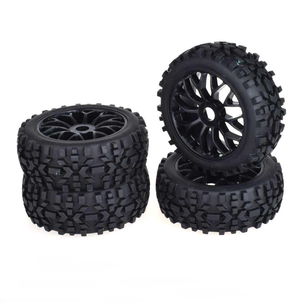 4pcs 17mm Hub Wheel Rim & Tires Tyre for 1/8 Off-Road RC Car Buggy KYOSHO HPI LOSI HSP universal replacement plastic tire w wheel rim hub for 1 10 on road model cars black 4pcs