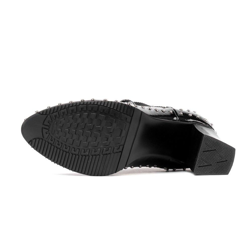 Tacones 31 Furtado Cuero 8 Genuino Señoras Zapatos Invierno Matin Cm Mujer Botines 32 2018 Arden Ocasionales Remaches Botas HtnwgaH