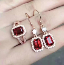 Natural red garnet gem jewelry sets natural gemstone ring Earrings 925 silver Luxury pillow Square women fine wedding jewelry